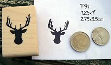 P91 Deer stag, antlers rubber stamp Small
