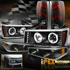2004-2012 Chevy Colorado Halo Projector LED Headlights+Signals+Black Tail Light