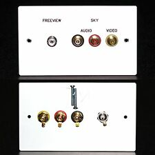 Metal AV Wall / Face Plate, 3x RCA Phono Audio Video sockets / TV Aerial Socket