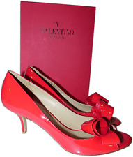 VALENTINO Couture BOW Red Pump Patent Leather Low Heel 2.5 Shoe Sandals 39.5- 9