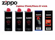 3 ZIPPO LIGHTER FUEL FLUID PETROL 1x Wick 1x Flints Quick Despatch UK