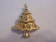 "Vintage signed "" JJ "" Rhinestone small Christmas Tree Brooch/Pin Gold-tone (AH"