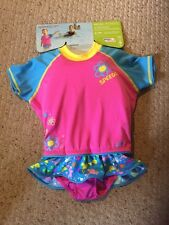 New Speedo Begin To Swim UV Flotation Suit.  Girls Size M/L.  Pink & Turquoise.