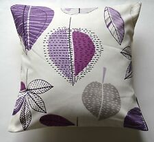 "16"" New Retro Chic 'Autumn Leaves' purple, white fabric cushion cover"