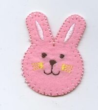 Iron On Embroidered Applique Patch Peep Pink Easter Bunny Face Head Rabbit