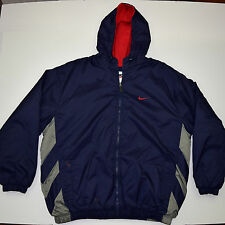 Vtg 90s NIKE Fleece Lined Puffy Winter Hooded Stadium JACKET Orbital Nike Logo