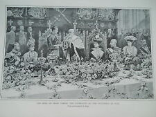 King of Spain attends function at Guildhall London 1909 antique print 21 x 13 cm