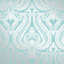 Me encanta Wallpaper Brillo Damasco Metálico Luxuryweight Wallpaper Azul / Plata