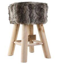NEU Hocker Holz Fellhocker Felloptik Sitzhocker Fußhocker Stuhl Fell