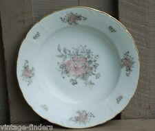 "Vintage Bohemian China Maria 8"" Rim Soup Bowl Pink Roses Gray Leaves Gold Trim"