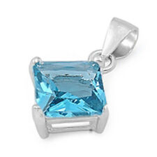 2 CARAT PRINCESS CUT AQUAMARINE CZ PENDANT .925 Sterling Silver Pendant Necklace
