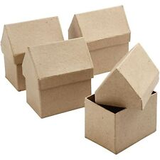 1 Pappmaché Schachtel Haus Geschenkschachtel Hausbau6x8,5x10,5cm