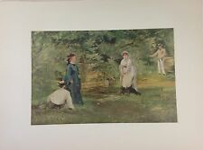 "1953 Vintage Full Color Art Plate ""THE CROQUET MATCH"" Manet Lithograph Litho"