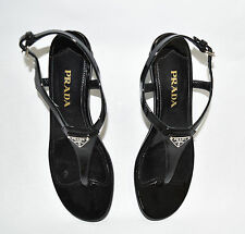 Prada Demi Wedge Thong Sandals Logo Sz 36 EU 6 US T-strap  Black Patent Leather