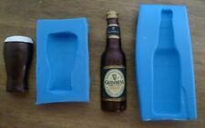 BEER BOTTLE AND PINT SILICONE MOULD FOR CAKE TOPPERS CHOCOLATE CLAY ETC