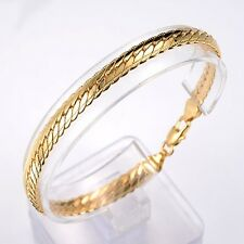 "18K Yellow Gold Filled Men's/Women's Bracelet 8"" snake Chain GF 6mm Link Jewelry"