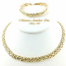 """17"""" 14K YELLOW Gold BYZANTINE COLLAR Necklace DOMED 18.3g 8mm"""