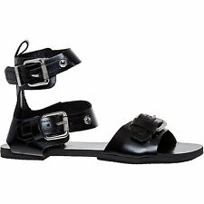 Diesel Black Leather Gladiator Flat Sandals Size 4 37 RRP £150 Brand New in Box