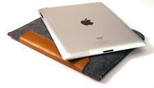 iPad MINI 1, 2, 3 felt & leather PATCH sleeve wallet case UK MADE, PERFECT FIT!