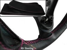 FOR DODGE RAM III 02-08 BLACK REAL LEATHER STEERING WHEEL COVER PINK STITCH 1500