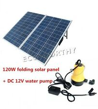 Solar Pump System W/ 120W Folding Solar Panel, Water Pump for Ranch Watering