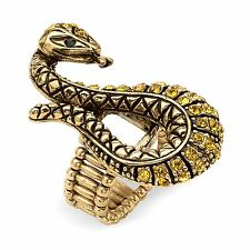 PalmBeach Jewelry Crystal Serpent Stretch Ring in Antiqued Yellow Gold Tone