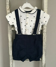 Baby Boy Next Romper Dungaree Outfit Size 3-6 Months White Navy Boat Summer