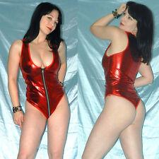 Afilado lackbody con cierre de cremallera * m 40 * stringbody en metalizado rojo * WETLOOK