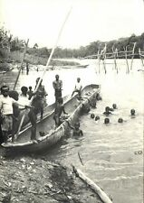 congo, Young African Boys are Swiming and Bathing in River, Canoe (1970s) RPPC
