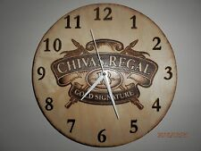 Handmade Chivas Regal 18 Scotch Gold Whisky Pyrography Wall Clock Wood Fire Art