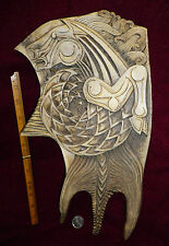 NEW - Celtic carving - Bloody Huge Kelpie and Lion on whole Moose Antler Paddle
