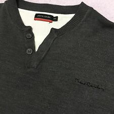 PIERRE CARDIN MENS 2XL GREY BUTTON NECK DESIGNER JUMPER WITH WHITE MOCK T SHIRT