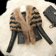 Women Fur Collar Cold Warm Coat Leather Cotton Jacket Overcoat Parka Outwear Top