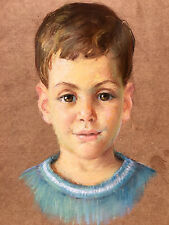 Vintage LUCY M JONES Signed PASTEL Portrait DRAWING Child Kid Young Boy REALISM