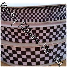 """Black & White Checkered 3/8""""  grosgrain ribbon the listing is for 5 yards total"""