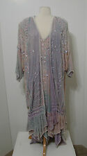 VINTAGE JUDITH ANN India 100% Silk Asy Flapper Hem Heavy Pearl Bead Jacket Dress