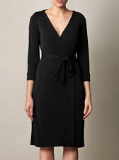 DIANE VON FURSTENBERG Black Julian 3/4 Sleeve Wrap Dress Size 12 10