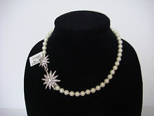 Kenneth Jay Lane Starburst Bead Necklace Pearl Silver New