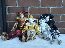 Set 4 Porcelain Harlequin Circus Dolls Figurines Clowns Black Red Silver Gold