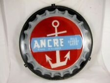 FRENCH ANCRE BEER SIGN, REVERSE PAINTED GLASS WITH METAL FRAME C 1930'S