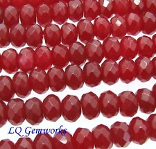 "15.5"" Strand RUBY RED JADE 6mm Faceted Rondelle Beads BOGO"