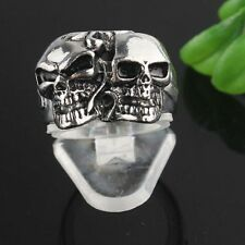 316L Men SIZE 7.75 Cool Skull Stainless Steel Travelling Silver Link Ring SF0217