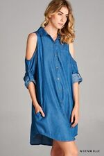 JODIFL Medium Wash Denim OFF SHOULDER Shirt DRess Boho Casual Sexy Tunic Top S