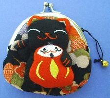Japanese Maneki Neko Lucky Cat Coin Purse Bag #22408-4