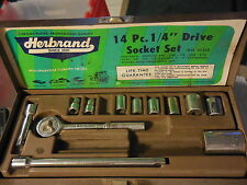 """Vintage Herbrand USA 1/4"""" inch socket wrench set,ratchet 22000,in box,tools"""