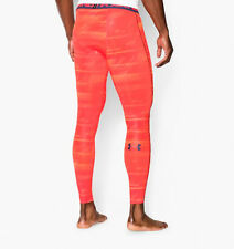 UNDER ARMOUR MEN COMPRESSION LEGGINGS LARGE NWT ORANGE PRINT 1258897-811