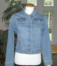 **LAST ONE**BNWT**Earl Jean**Women's Rhinestones Denim Jean Jacket **BLING**SZ S
