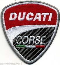 Stupenda toppa ricamata patch termoadesiva scudetto logo DUCATI CORSE cm 8 x 7,5