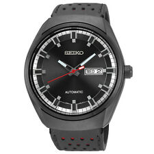 SEIKO SNKN45   MEN'S AUTOMATIC DAY & DATE BLACK DIAL BLACK  LEATHER WATCH