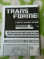 Transformers HFTD BATTLE BLADES OPTIMUS  INSTRUCTION BOOKLET ONLY MINT CONDITION